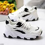 Актуальні чорно - білі жіночі кросівки снікерси з рефлективными вставками 38-24 см, фото 2