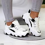 Актуальні чорно - білі жіночі кросівки снікерси з рефлективными вставками 38-24 см, фото 7