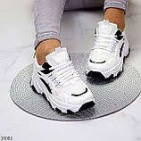 Актуальні чорно - білі жіночі кросівки снікерси з рефлективными вставками 38-24 см, фото 9