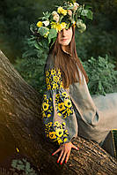 Платье серое с желтыми розами