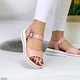 Стильные кожаные женские розовые пудра босоножки натуральная кожа, фото 3
