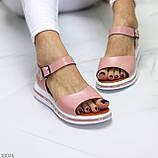Стильные кожаные женские розовые пудра босоножки натуральная кожа, фото 6