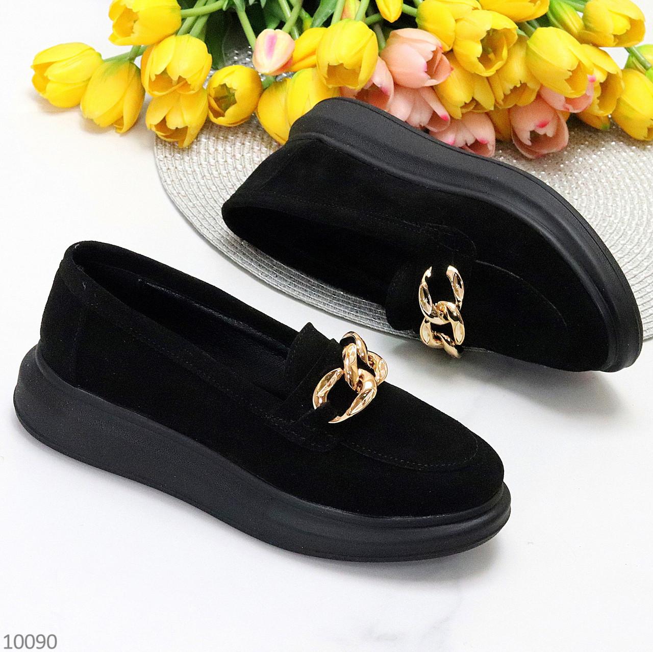 Чорні жіночі замшеві туфлі кріпери натуральна замша з декором ланцюг 40-26см