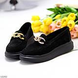 Чорні жіночі замшеві туфлі кріпери натуральна замша з декором ланцюг 40-26см, фото 2