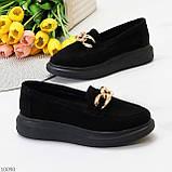 Чорні жіночі замшеві туфлі кріпери натуральна замша з декором ланцюг 40-26см, фото 3
