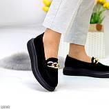 Чорні жіночі замшеві туфлі кріпери натуральна замша з декором ланцюг 40-26см, фото 4