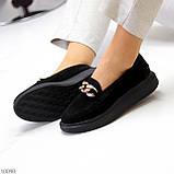 Чорні жіночі замшеві туфлі кріпери натуральна замша з декором ланцюг 40-26см, фото 5