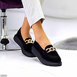 Чорні жіночі замшеві туфлі кріпери натуральна замша з декором ланцюг 40-26см, фото 6