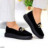 Чорні жіночі замшеві туфлі кріпери натуральна замша з декором ланцюг 40-26см, фото 7