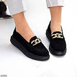 Чорні жіночі замшеві туфлі кріпери натуральна замша з декором ланцюг 40-26см, фото 8