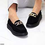 Чорні жіночі замшеві туфлі кріпери натуральна замша з декором ланцюг 40-26см, фото 9