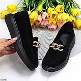 Чорні жіночі замшеві туфлі кріпери натуральна замша з декором ланцюг 40-26см, фото 10