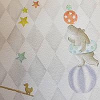 Обои детские флизелиновые  BN Doodleedo 0,53 x 10 м цирк животные слоны птицы воздушные шары звезды серо белые, фото 1