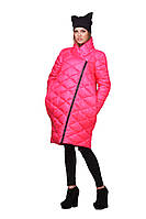 Молодежная женская стеганая куртка-пуховик oversize | Розовая