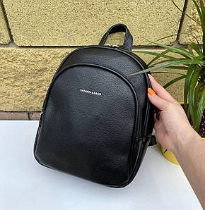 Женский кожаный черный рюкзак (эко кожа) Johnny на 2 отдела. Стильный, повседневный, городской рюкзак