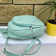 Женский кожаный зеленый рюкзак (эко кожа) Johnny на 2 отдела. Стильный, повседневный, городской рюкзак, фото 3