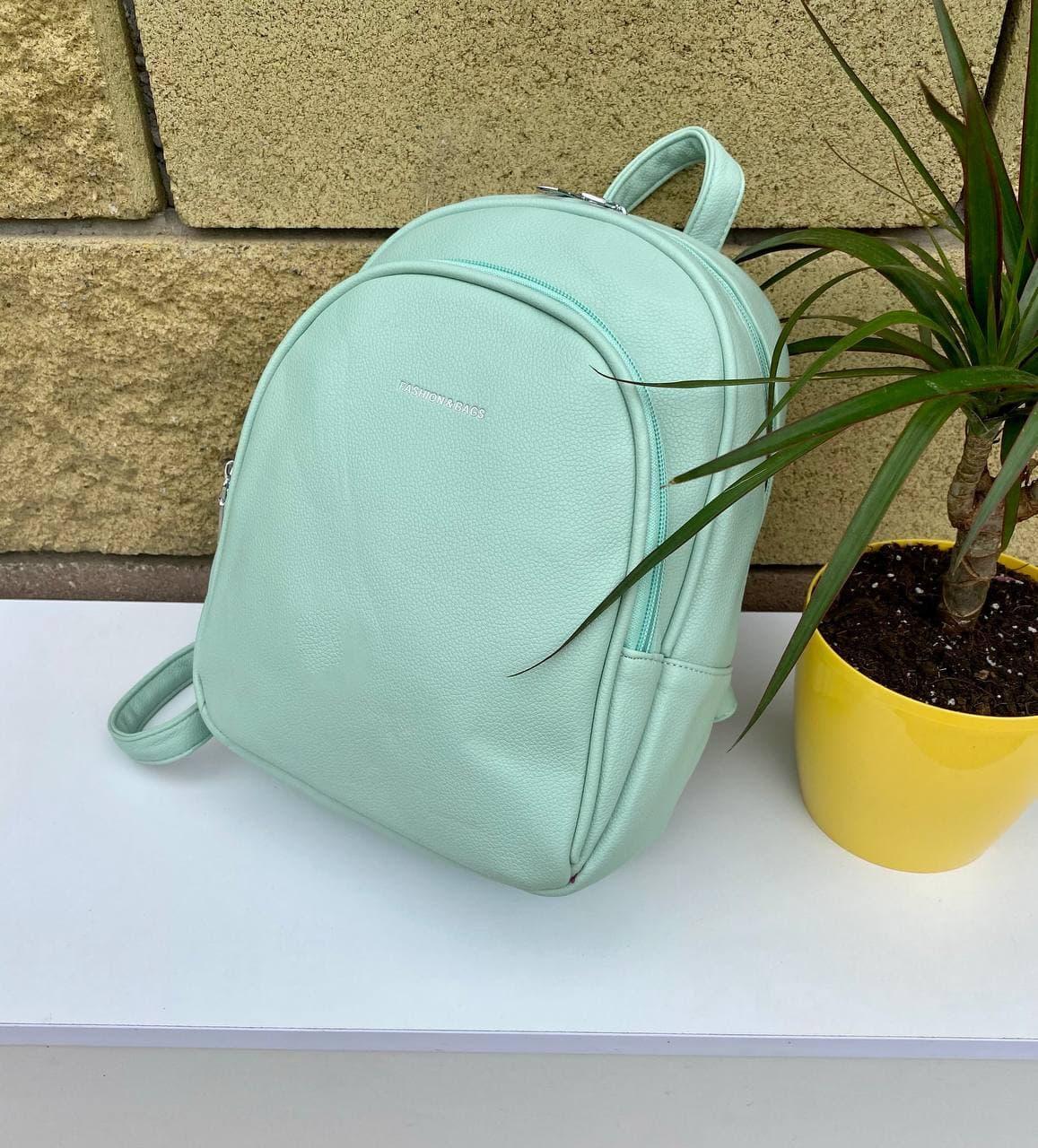 Женский кожаный зеленый рюкзак (эко кожа) Johnny на 2 отдела. Стильный, повседневный, городской рюкзак