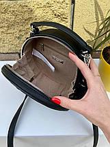 Черная женская кожаная круглая сумочка - таблетка David Jones Bali (эко кожа). Стильная сумка на плечо, фото 3