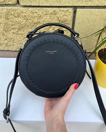 Черная женская кожаная круглая сумочка - таблетка David Jones Bali (эко кожа). Стильная сумка на плечо, фото 2