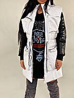 Жіноча стильна подовжена жилетка з еко-шкіри на поясі, фото 1