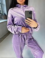 Женский стильный спортивный велюровый костюм на молнии, фото 1