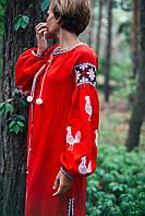 Дизайнерское платье красное с белыми петухами, фото 1
