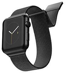 Ремешок для часов смарт apple watch. Ремешок для часов миланская петля. На дисплей 42-44 мм. Черный