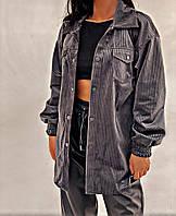 Жіноча стильна вельветова сорочка оверсайз, фото 1