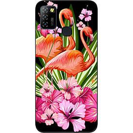 Чехол силиконовый для Infinix Hot 10 Lite с картинкой Фламинго