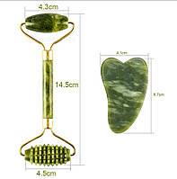 Набор Роллер и Скребок Гуаша Сердце нефрит. Нефритовый массажер Массажные камни для лица и тела