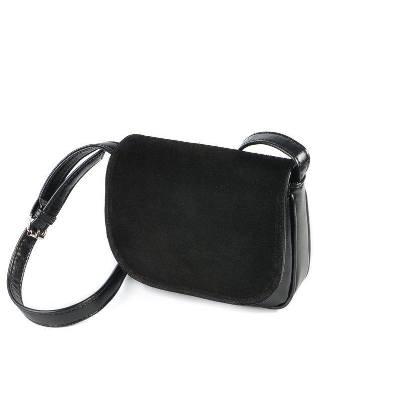 Жіноча замшева сумка М55-33/замш чорна крос-боді через плече з натуральної замші