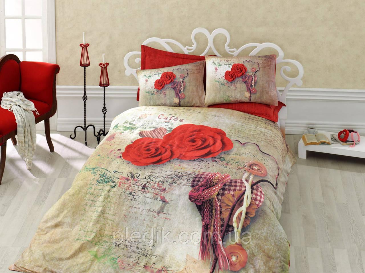 Двуспальное постельное белье 200х220 Cotton box 3D Ранфорс GRETA KIRMIZI, красные розы.
