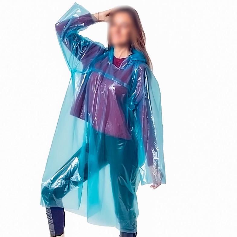 """Плащ от дождя Синий 30 мкм, сплошной дождевик """"Ваш комфорт"""" женский, мужской для рыбалки, похода (NS)"""