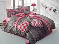 Двуспальное постельное белье 200х220 Cotton box 3D Ранфорс LOVEBOX KIRMIZI, серый с красным сердцем.