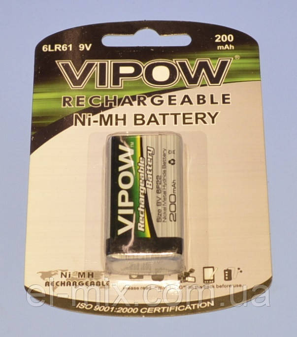 "Аккумулятор Ni-Mh ""крона"" Vipow  9V 200mAh  BAT0050"