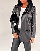 Женский стильный удлиненный пиджак и эко-кожи, фото 1
