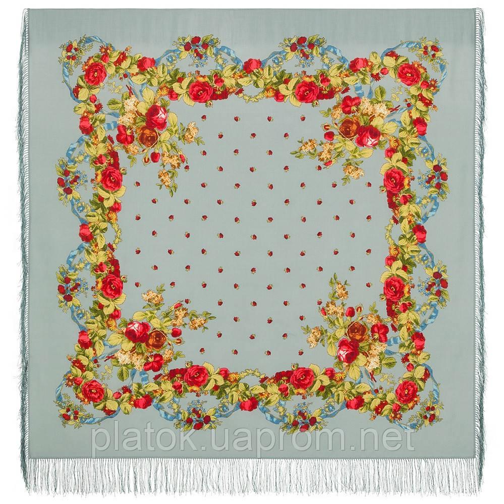 Весільні стрічки 1061-2, павлопосадский вовняну хустку з шовковою бахромою. Стандартний сорт