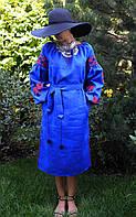Дизайнерское платье синее с красными розами