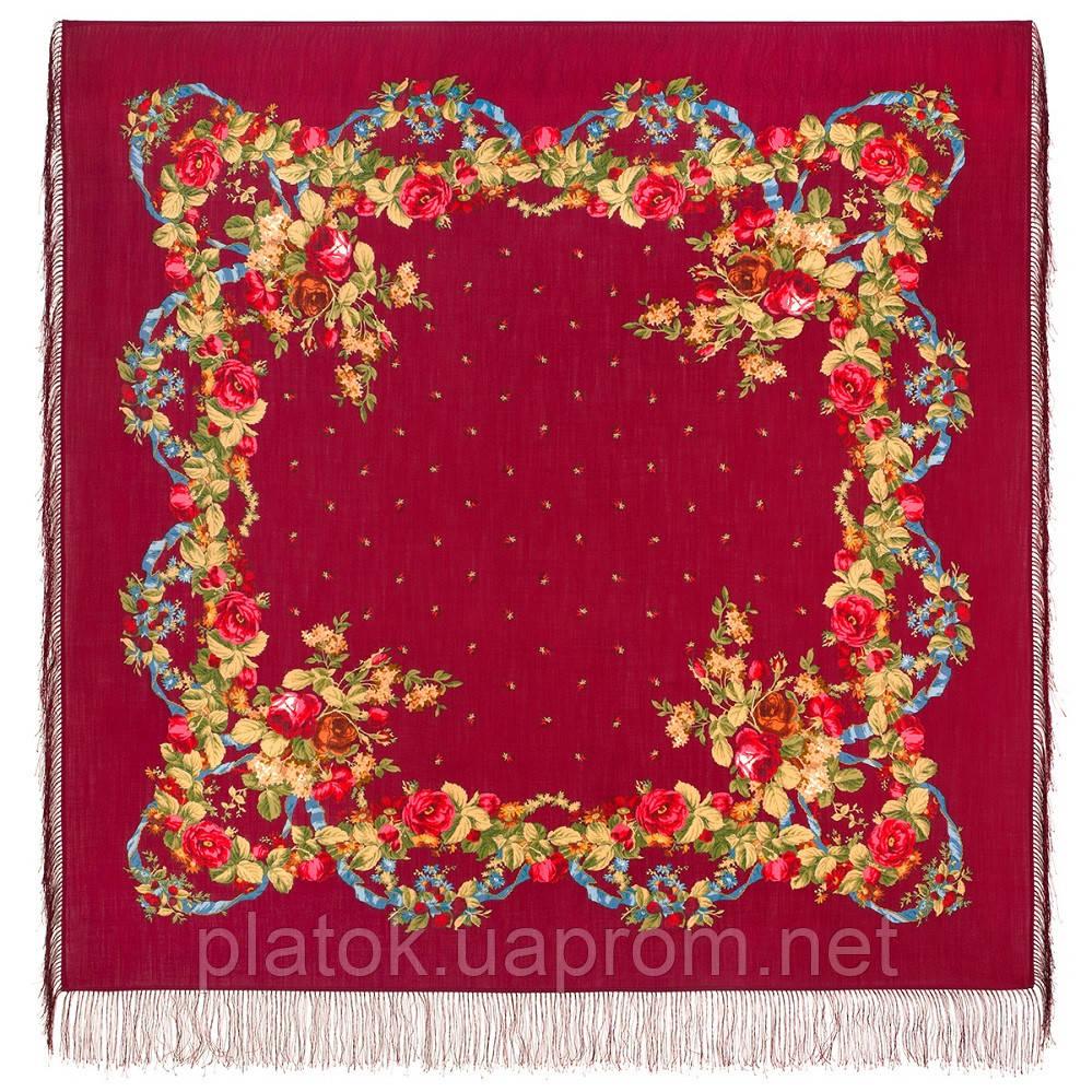 Свадебные ленты 1061-4, павлопосадский платок шерстяной с шелковой бахромой