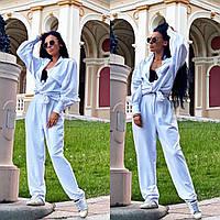 Женский стильный костюм брюки и рубашка, фото 1