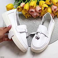 Модные удобные повседневные белые женские туфли криперы натуральная кожа