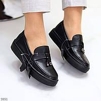 Модные удобные повседневные черные женские туфли криперы натуральная кожа 36-23,5 / 38-24,5см