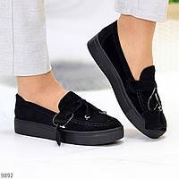 Модные удобные повседневные черные женские туфли криперы натуральная замша
