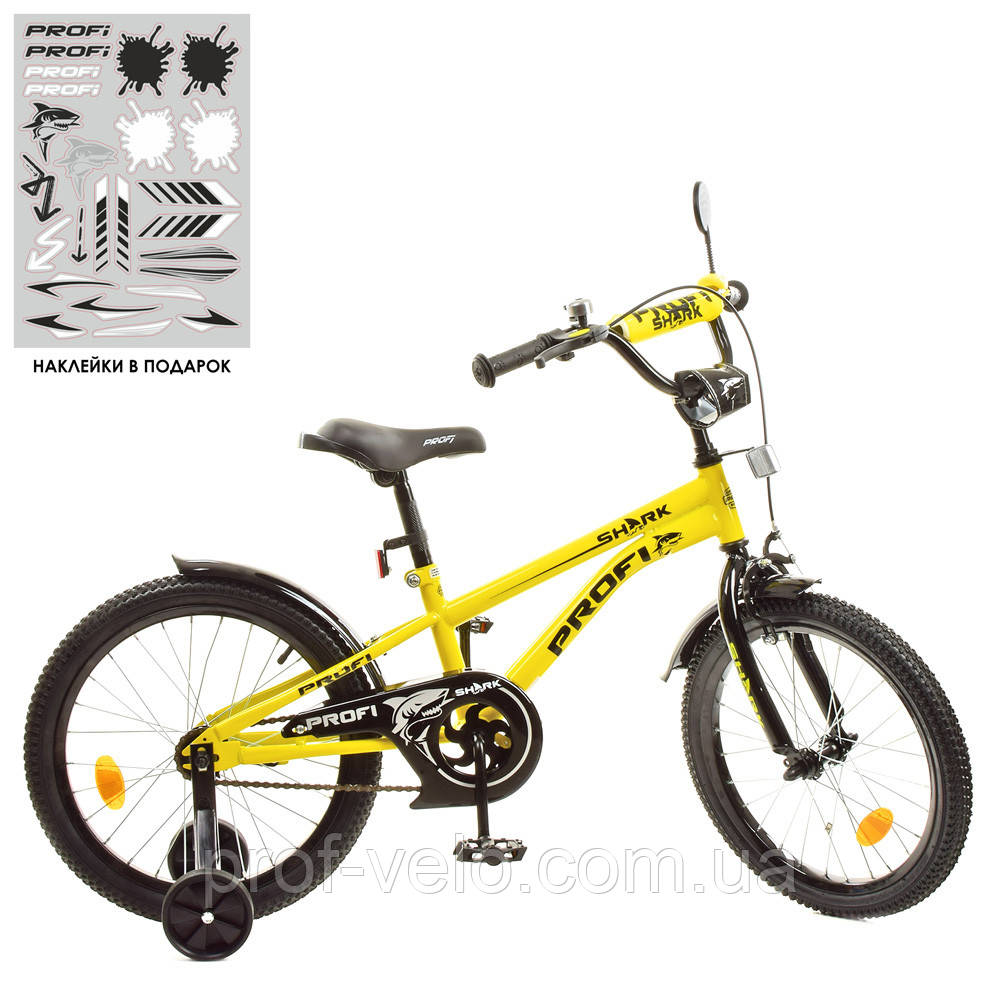 Велосипед дитячий Prof1 18Д. Shark 18д. Y18214 Жовтий
