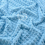 """Два шматка плюшу """"Пірамідки"""", блакитного кольору (М-57), розмір 50 * 55, 50 * 100 см (є брак), фото 3"""