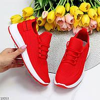 Легкие удобные текстильные тканевые яркие красные женские кроссовки