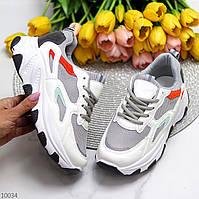Миксовые серые белые женские кроссовки сникерсы с светоотражающими вставками 36-23 см