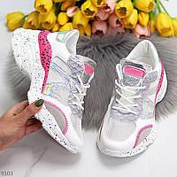 Ультра модные белые женские кроссовки на утолщенной подошве с розовыми вставками