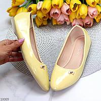 Элегантные женственные желтые глянцевые лаковые балетки 37-23,5 38-24 40-25 см