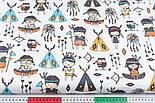 Лоскут ткани с маленькими индейцами и голубыми вигвамами на белом фоне (№3343), размер 33*80 см, фото 3